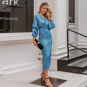 Image 3 - Simplee Elegant v neck women dress Polka dot lantern sleeve female plus size evening party dress Autumn slim lady vintage dress
