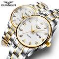 GUANQIN Paar Uhr Set Männer Frauen liebhaber Uhr Edelstahl Datum Luxus Gold Quarzuhr Frauen Uhr Damen Armbanduhr