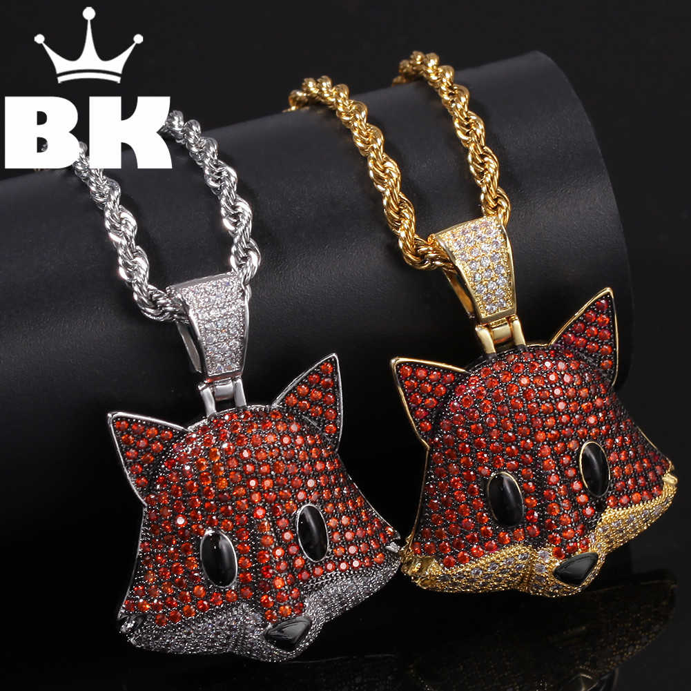 THE BLING KING Custom Little FoxPandent CZ Pendant Necklace Hip Hop Full Iced Out Cubic Zirconia gold sliver CZ Stone
