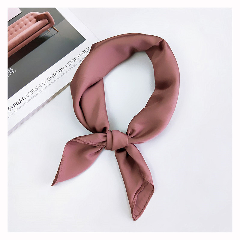 70cm*70cm Pure Color Square Scarf Hair Tie Band For Party  Shopping  Elegant Women Wrap Handkerchief Bandana Accessories 2019