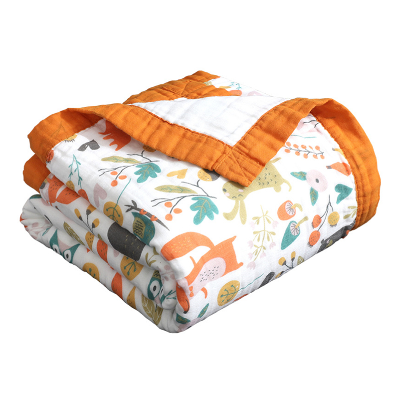 6 Layers Super Soft Wide Bordure Cotton Muslin Blanket Swaddle Blanket Unicorn Stroller Cover Bath Towel Baby Receiving Blanket