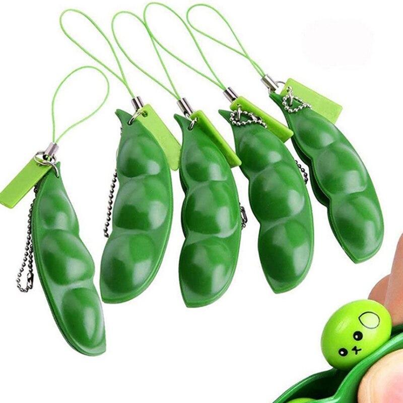 Сжимаемая бесконечная эдамамовая игрушка-брелок для выражения гороха, брелок, украшение для снятия стресса, игрушки для снятия стресса
