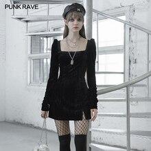 PUNK RAVE femmes texturé plissé velours col carré paquet hanche a-ligne robe gothique quotidien fête Club Sexy robe noire femmes