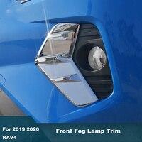 ABS cromo frente niebla embellecedor de cubierta de lámpara de luz Etiqueta de protección adecuado para Toyota RAV4 RAV 4 2019 4 2020 estilo de coche