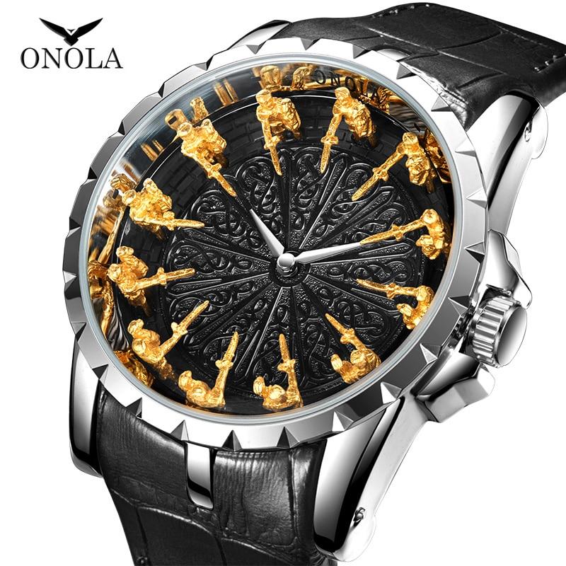 Часы наручные ONOLA Мужские кварцевые, брендовые уникальные роскошные модные повседневные водонепроницаемые, с кожаным ремешком, цвет розово...