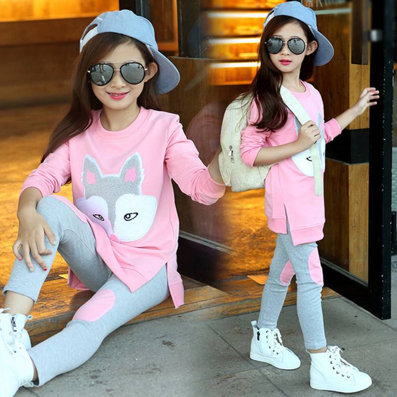 Children Clothing Autumn Cartoon Girls Sets Long Sleeve Tracksuit For 3- 13 Years old Girls Clothes Sport Suit Kids Clothes Sets 3