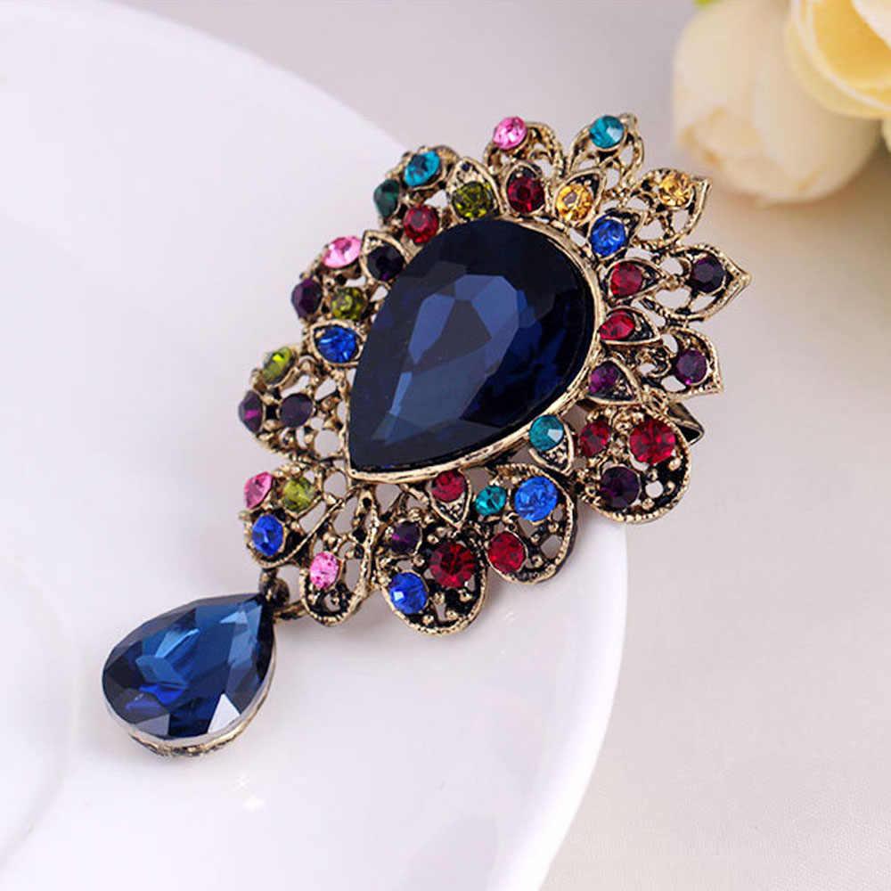 Gota de água cristal strass broche bouquet marca jóias grande broche de vidro vermelho pino para mulher bouque casamento jóias