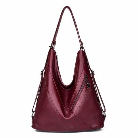 Bolsas de Mão do Vintage para Mulheres Bolsas de Couro Sac a Principal das Senhoras Multifuncional Bolsa Top-handle Bags Grande Capacidade Bolsala Feminina 2019
