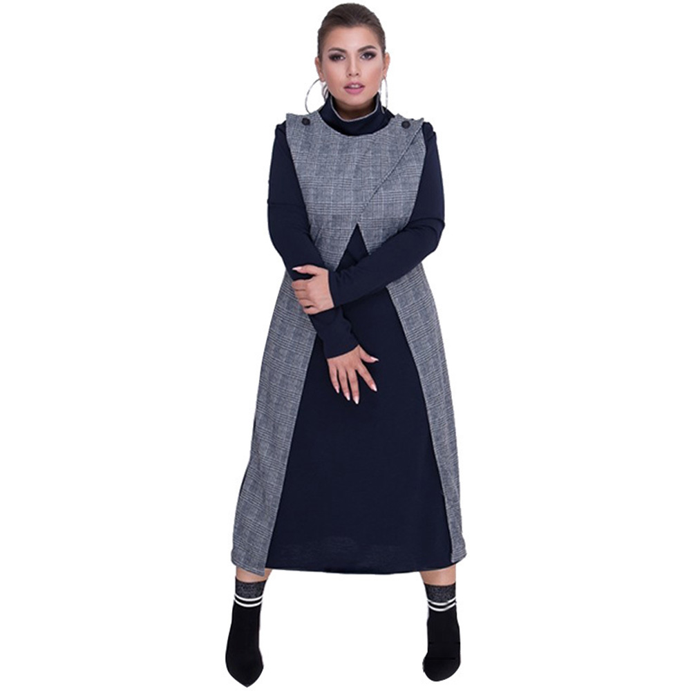 Wipalo 2019 Autumn Women Ladies Color Block Patchwork Fake Two Piece High Collar Long Sleeve O-Neck Casual Maxi Long Dress 6XL