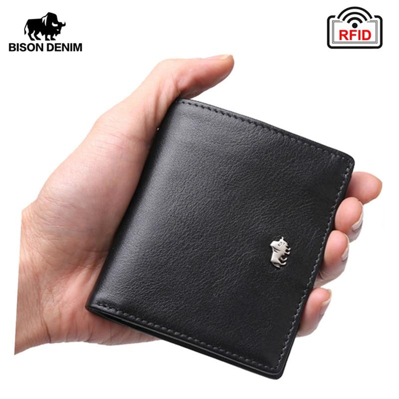 BISON DENIM Short Wallets For Men Genuine Leather Wallet Men Coin Pocket Card Holder Purse RFID Blocking Small Wallet W9317