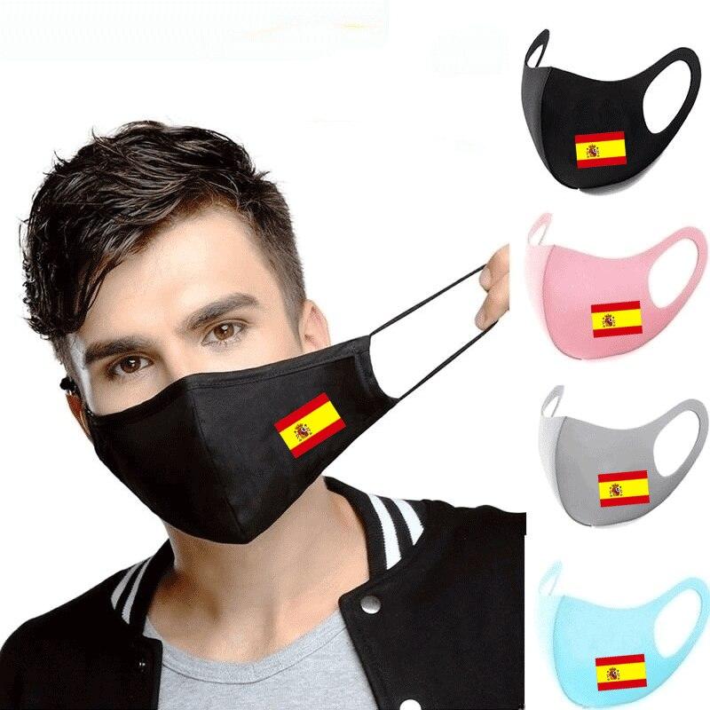 Espagne drapeau impression lavable Earloop visage masque respiratoire cyclisme Anti poussière environnement bouche masque respirateur mode noir masque
