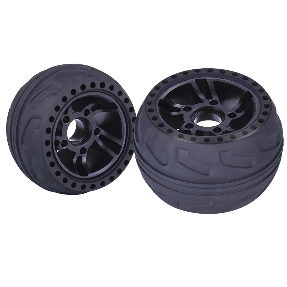 2Pcs/set 105LMH All Terrain Wheel Rubber Tire Skateboard Accessories For Outdoor Fun - Black//Red