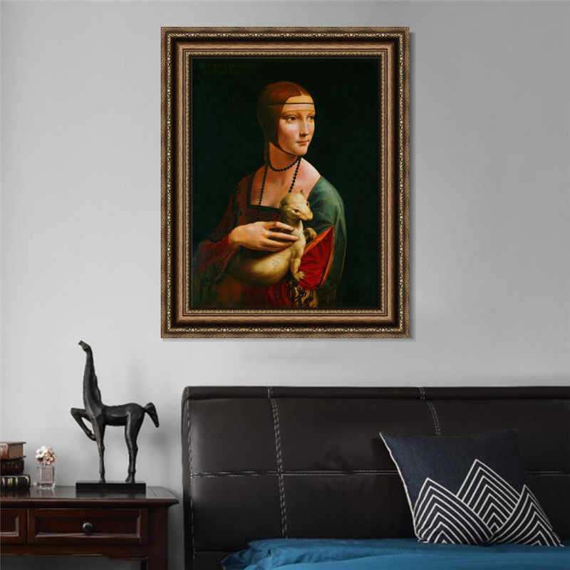 Canvas Art Paintings Reproductions On The Wall The Lady With An Ermine By Leonardo Da Vinci Famous Canvas Wall Art Home Decor
