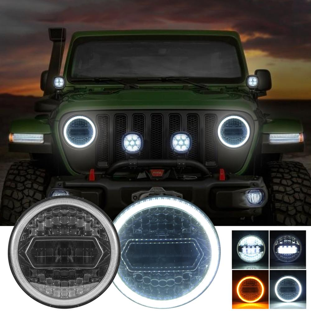 7 Inch LED Auto Halo Headlights 300W With Turn Signal  Hi Lo Beam Halo Angel Eye Amber White DRL Compatible for Jeep Wrangler