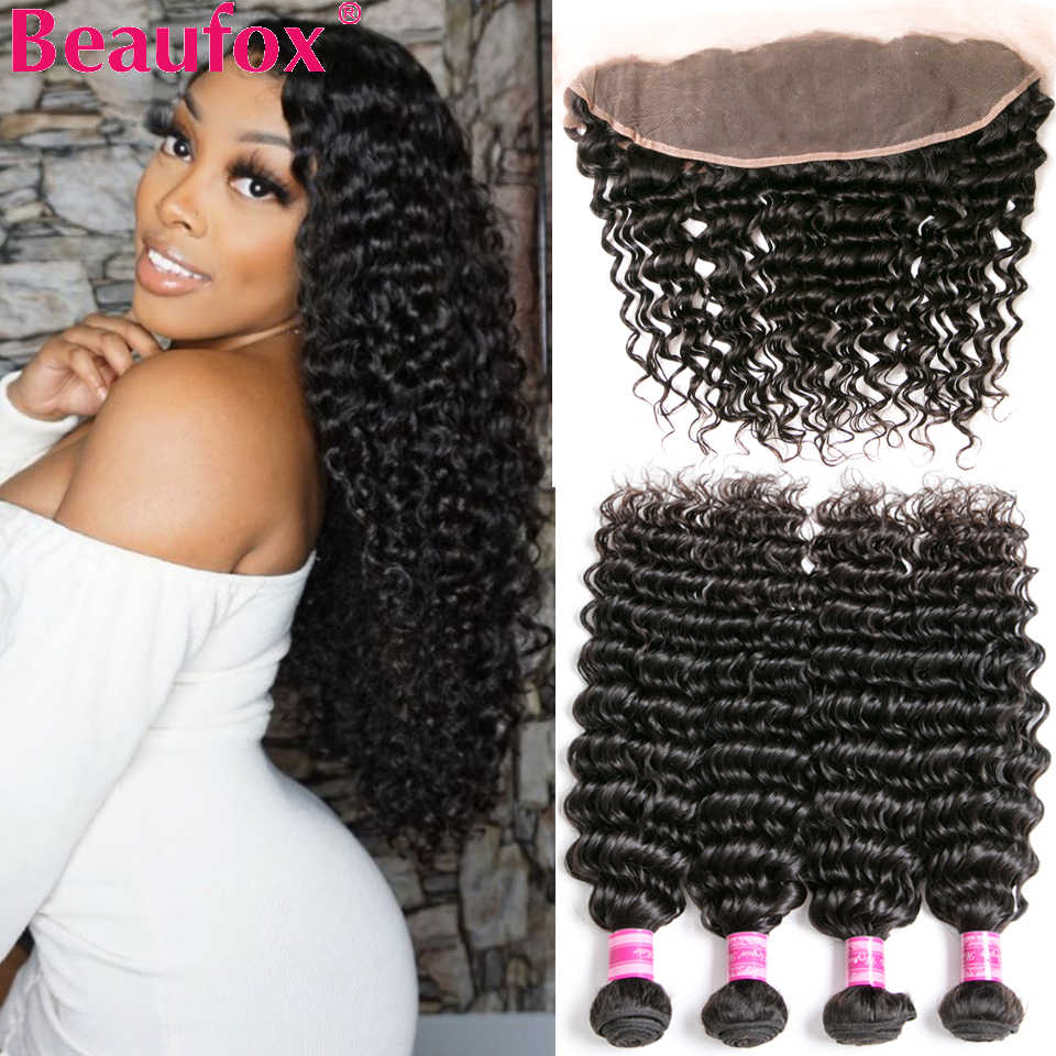 Beaufox Brazilian Deep Wave Bundles With Frontal Human Hair Bundles With Closure Remy Lace Frontal Closure With Bundles