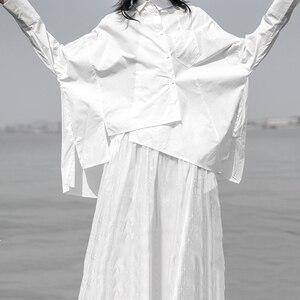 Image 5 - [EAM] 2020 חדש אביב סתיו דש ארוך שרוול לבן Loose Oversize סדיר רופף חולצה נשים חולצה אופנה גאות JS921