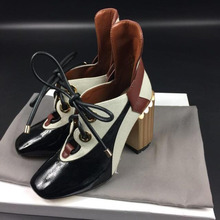 Phoentin women's Retro square toe Shoes mixed colors High He