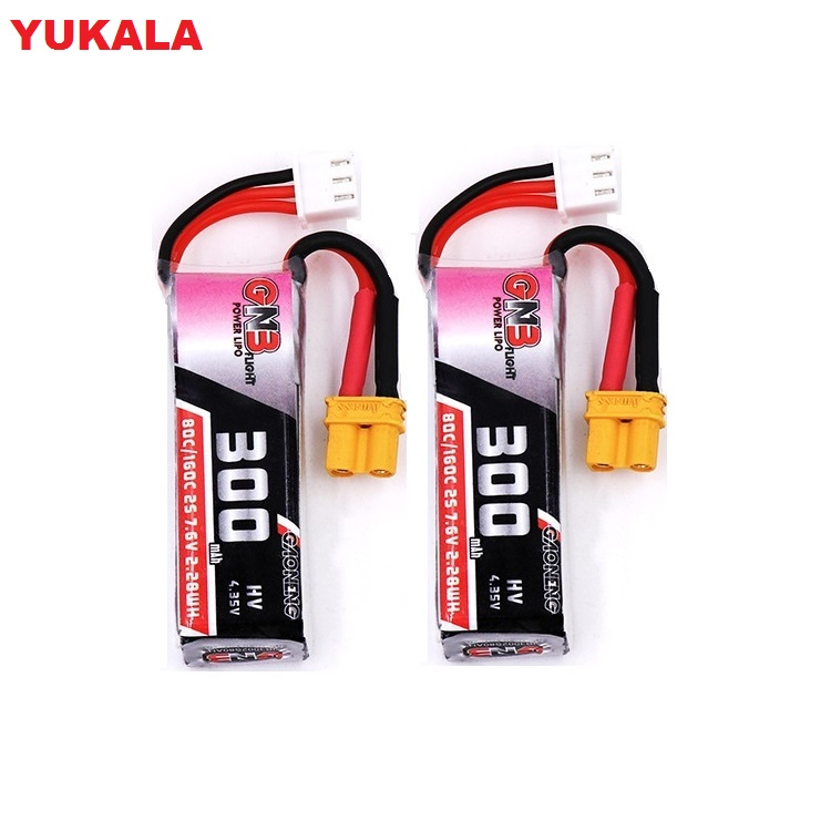 YUKALA 2PCS GNB <font><b>300mah</b></font> 7.6V 80C/160C HV <font><b>Lipo</b></font> battery with XT30 Plug for Beta75X <font><b>2S</b></font> Beta65X <font><b>2S</b></font> 7.6 v 300 mah image