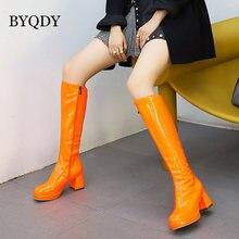 Byqdy/Осенняя блестящая обувь из лакированной кожи высокие сапоги