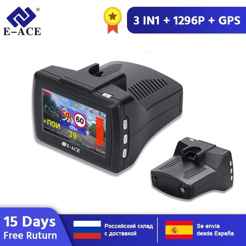 E-ACE g07 3 em 1 carro dvr dashcam 3.0 Polegada hd 1296 p traço cam radar detector gps registrador automático gravador de vídeo câmera traço dvrs