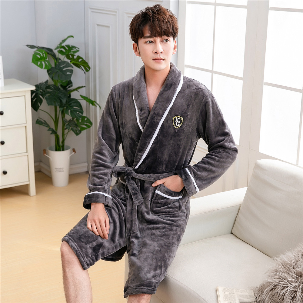 Bathrobe Male Kimono Gown With Belt&pockets Warm Long Coral Fleece Intimate Lingerie Negligee Big Size 3XL Home Dressing Gown