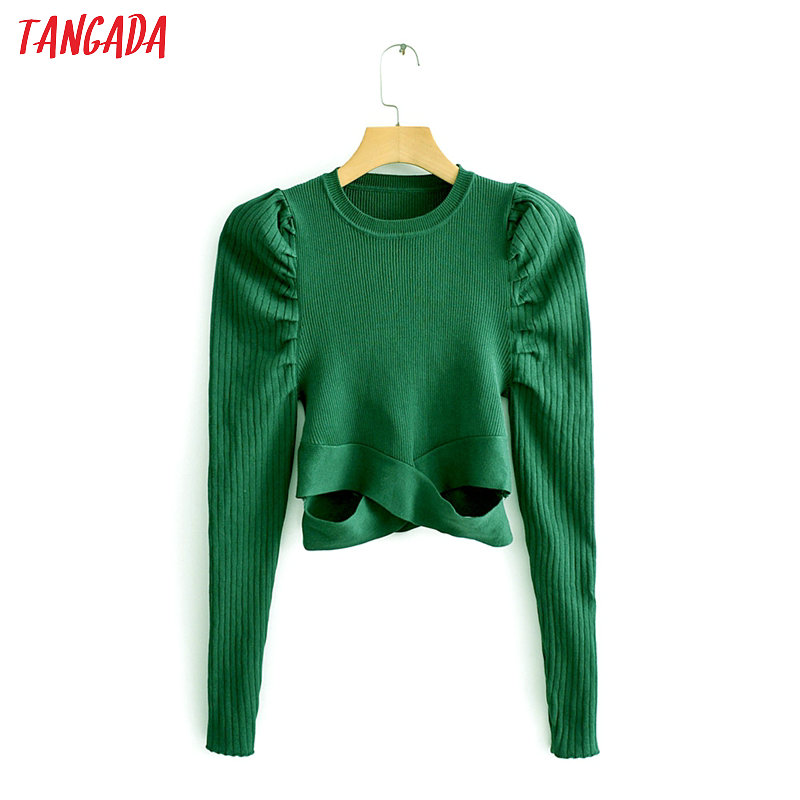 Tangada Women Green Hole Out Cropped Sweater Puff Long Sleeve Slim Sexy Vintage Ladies Knitted Jumper Tops QJ141