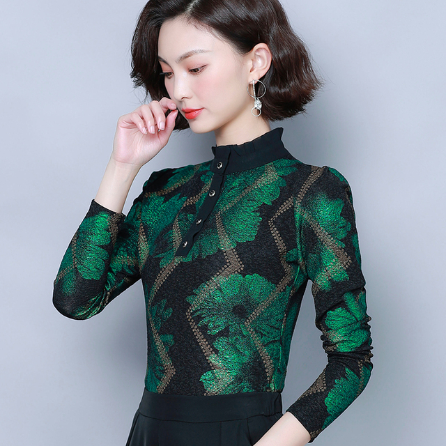 Women Blouses 2019 Autumn Fashion Print Womens Tops and Blouses Long Sleeve Stand Collar Plus Size Women Shirts Blusas Mujer 2
