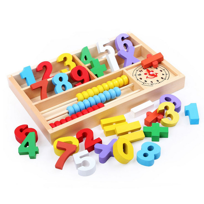 wooden toy Montessori digital learning arithmetic math puzzle stamp game box set