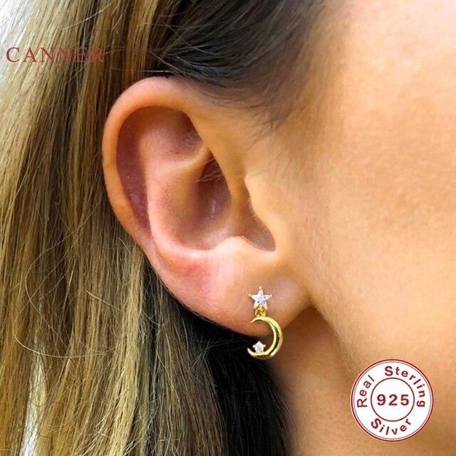 CANNER Crescent symmetrical heart Stud Earrings 925 Sterling Silver Fashionable Zircon Earrings For Women Jewelry Aretes Mujer