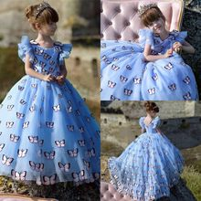 Charming Butterfly Girls Pageant Gowns Light Sky Blue Princess High Low Flower Girl Dress For Wedding Custom Made Baby Birthday(China)