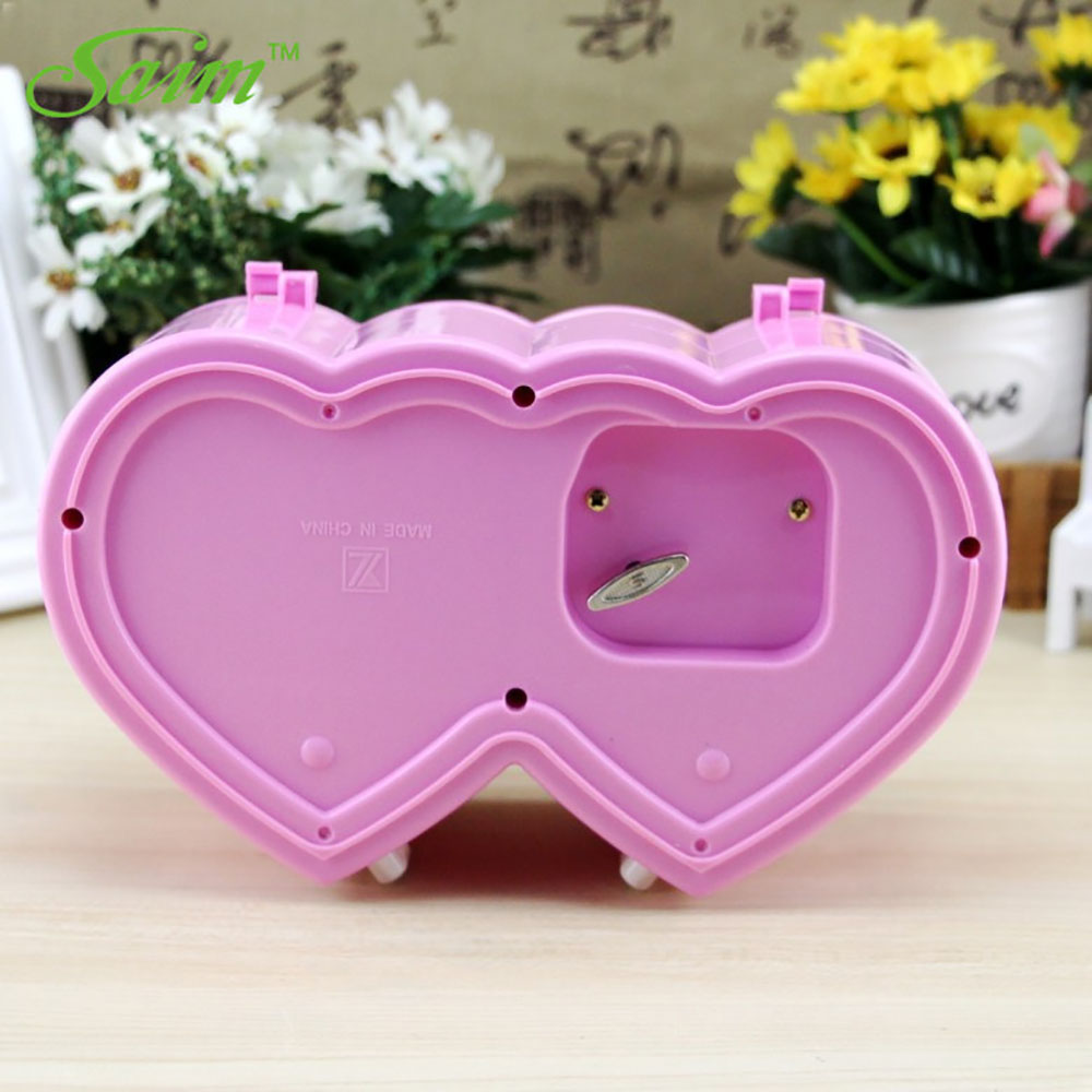 Saim Music Jewelry Box Ballerina Musical Jewelry Box Storage Heart Shape Dancing Girl Music Box Creative