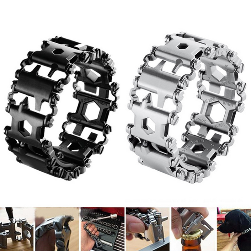 Hot <font><b>Multi</b></font>-<font><b>Tools</b></font> <font><b>Bracelet</b></font> <font><b>29</b></font>-<font><b>in</b></font>-<font><b>1</b></font> Multifunction <font><b>Tool</b></font> Stainless Steel <font><b>Bracelet</b></font> Screwdriver Opener Wrench MCK99 image