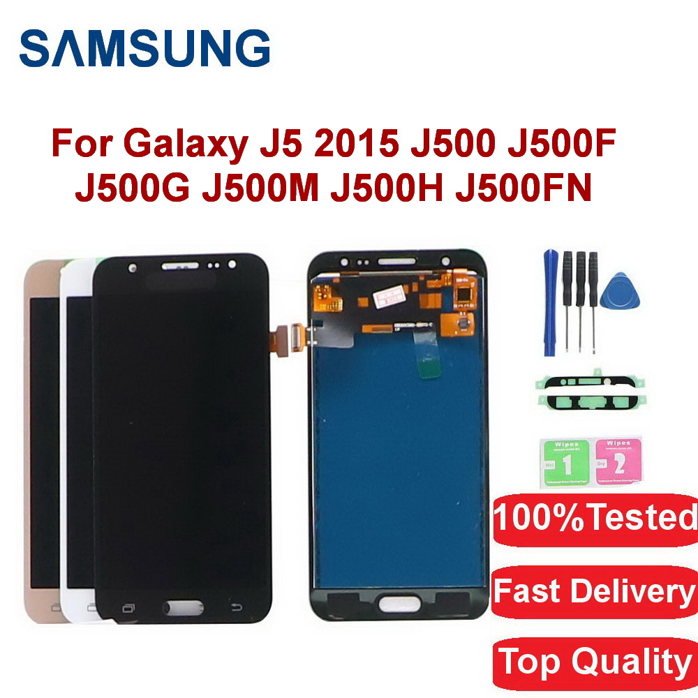 For Samsung Galaxy <font><b>J5</b></font> 2015 LCD Display <font><b>J500</b></font> J500F J500GJ500M J500H J500FN LCD Display Touch Screen Digitizer Assembly With Frame image