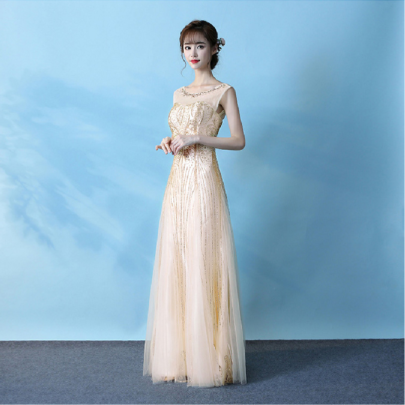 Gold-Tone Evening Gown 2019 Summer New Style Banquet Long Nobility Youyagongzhu Party Host Slim Fit Long Skirts