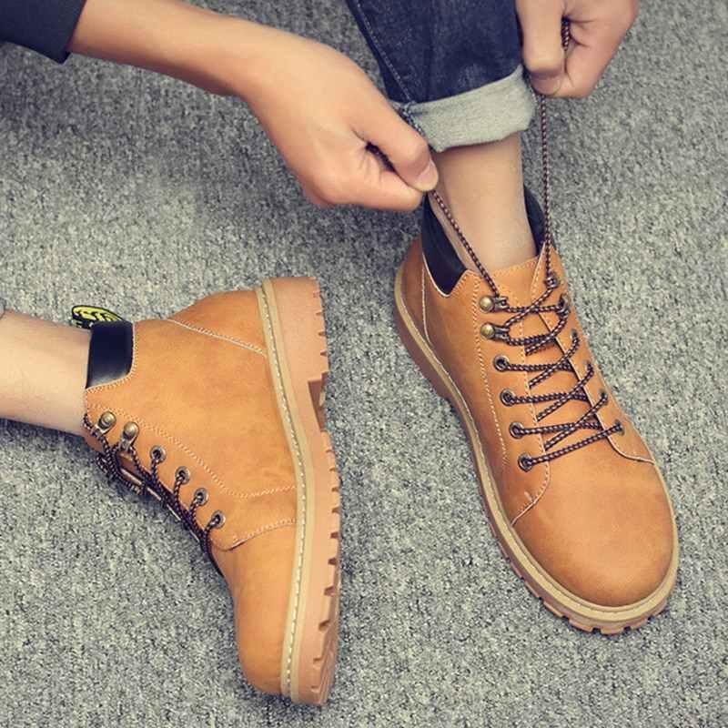 Neue Leder Männer Stiefel Frühling Herbst Und Winter Mann Schuhe Ankle Boot männer Schnee Schuh Arbeit Plus Größe 38 -44