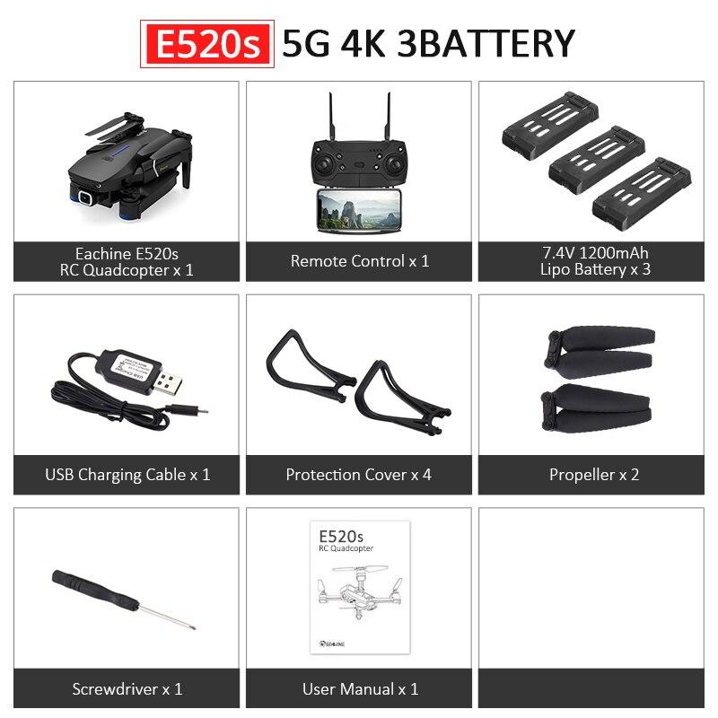Eachine E520S E520 gps FOLLOW ME wifi FPV Квадрокоптер с 4 K/1080 P HD широкоугольная камера Складная Высота удержания прочный Радиоуправляемый Дрон - Цвет: E520S 5G 4K 3B