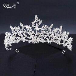Женские цветочные диадемы Miallo, серебристые Стразы в форме короны, украшения для волос, аксессуары для невесты