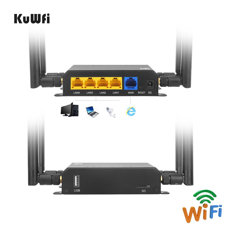 KuWFi WE826 4G LTE-маршрутизатор Openwrt разблокированный 3G / 4G Wi-Fi-роутер CAT4 150 Мбит / с 4G-модем с антеннами 4G и слотом для SIM-карты