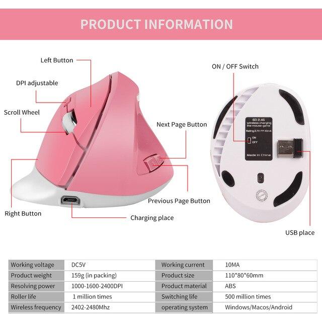 Купить мышь вертикальная аккумуляторная беспроводная 24 ггц 1600dpi картинки цена