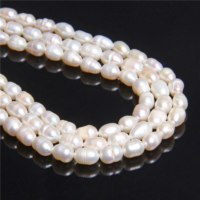 Lot 10 6mm-8mm White Freshwater Potato Irregular Oval  Pearls Loose Gems Beads