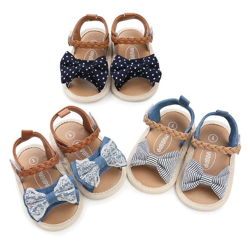 Baby Shoes Summer Soft Sole Girls Sandals For Girls Shoes Fashion Newborn Bow Lace Dot Girls Sandals Beach Plaid Princess Shoes