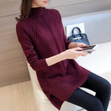 Hot selling simple fashion design pullover knitting women sweater good elasticity female long warm ladies sweater knitwear femme(China)