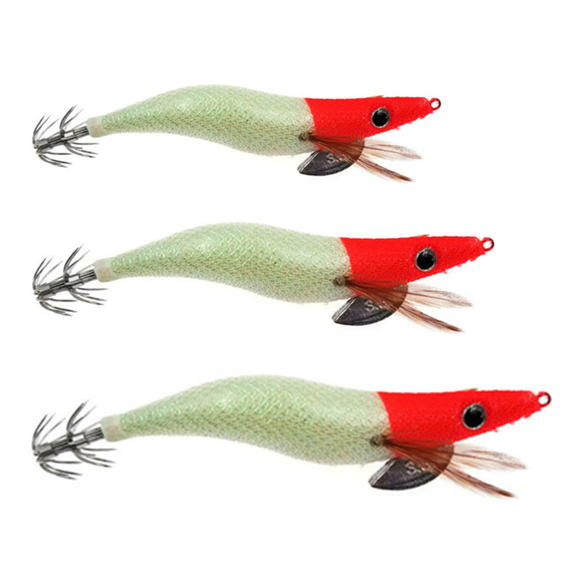 1Pcs Luminous Squid Jigs 2.5# 3.0# 3.5# Glow Wood Shrimp With Octopus Squid Jig Hooks Cuttlefish Fishing Lure