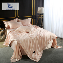 Liv-Esthete Duvet Cover Flat Sheet 4PCS 100% Silk Luxury Bedding Set Double Queen King Decor Bed Linen Euro Adult Bedclothes