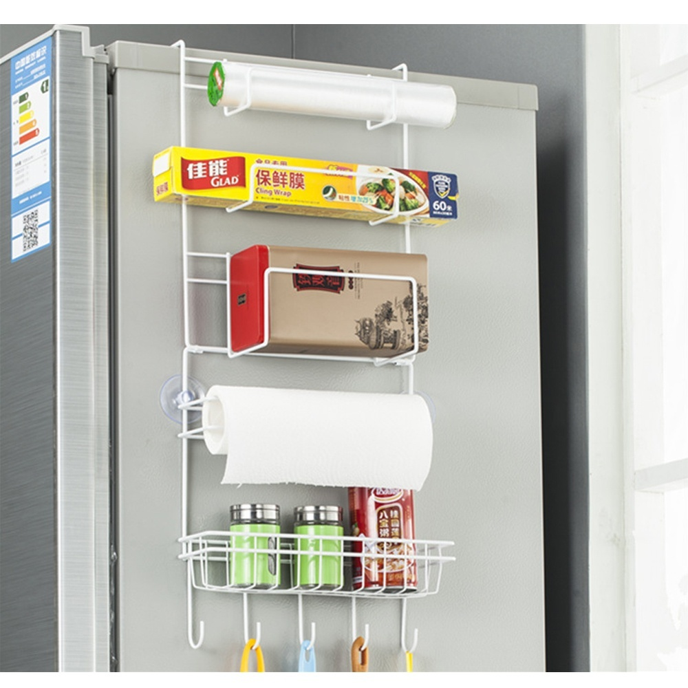 Multi-Layer Refrigerator Rack Side Shelf Sidewall Holder Multifunctional Kitchen Organizer Hanging Hook Fridge Storage White