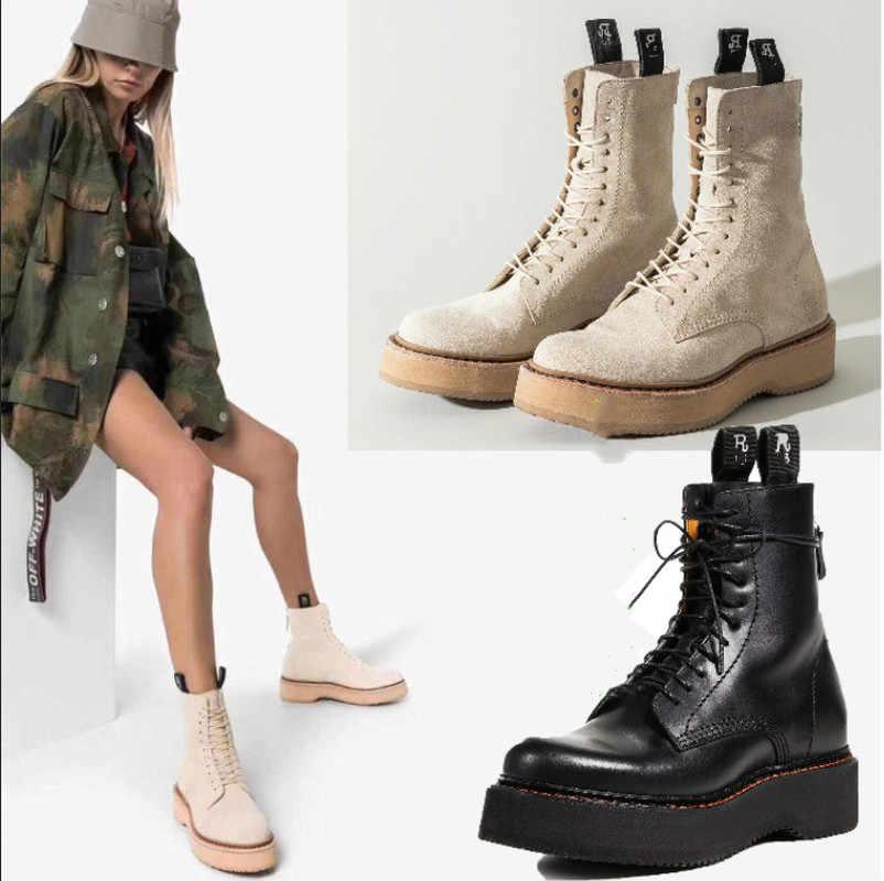 Ins R motosiklet botları kadın kış ayakkabı 2019 sıcak kadın yarım çizmeler Lace Up platformu kadın patik tıknaz kadın kama ayakkabı