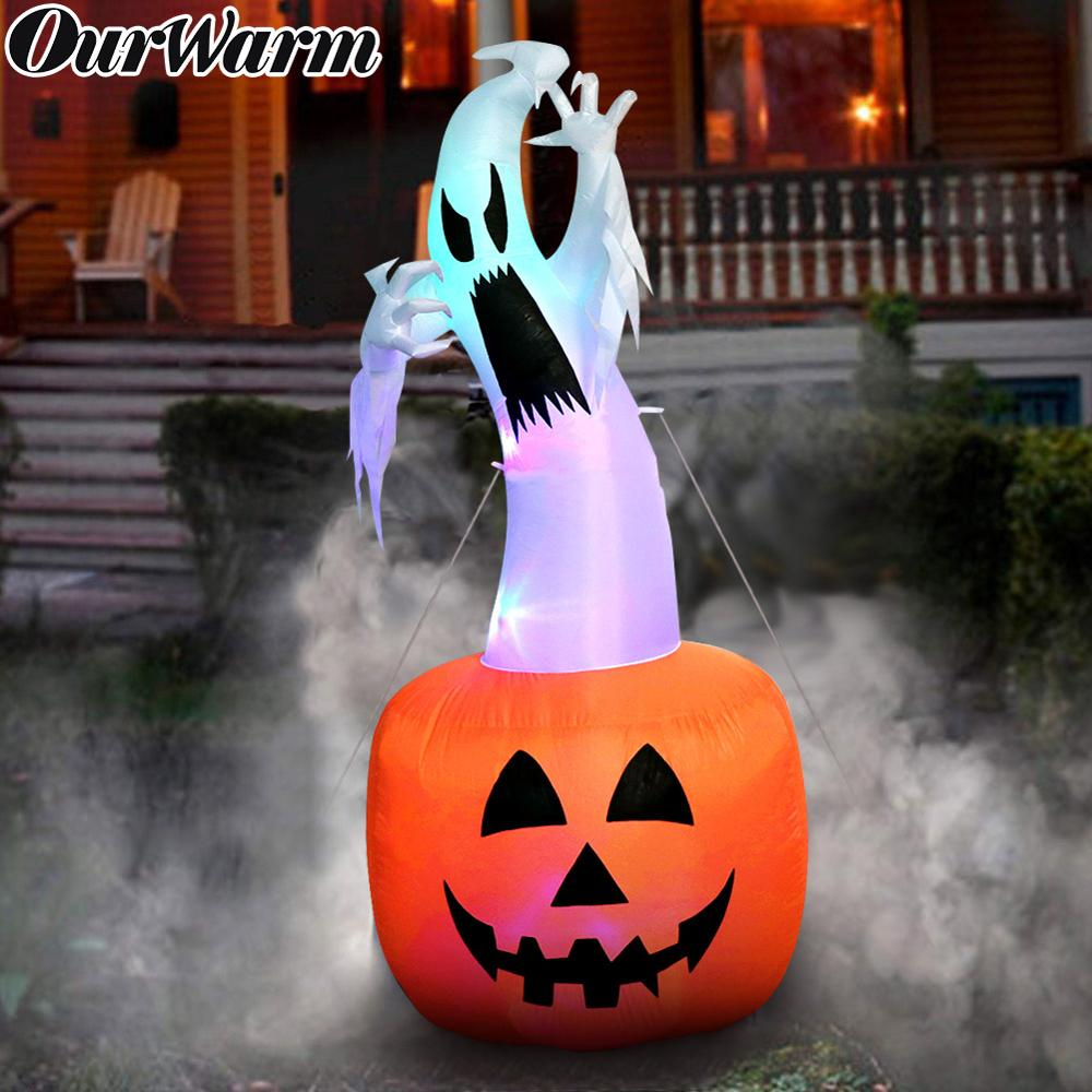 US $34 72 OFF OurWarm 6ft Halloween Inflatable Pumpkin Ghost Halloween Decorations Outdoor Scary Blow in Pumpkin Up Color Changing Light Party DIY