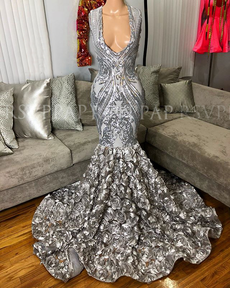 New Arriv Al Mermaid Prom Dresses 2020 V-neck Sequin 3D Flowers African Black Girl Silver Gala  Prom Dress