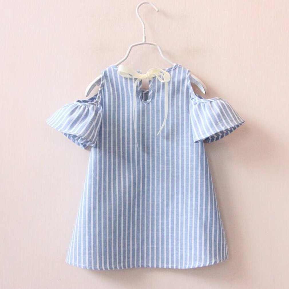OUTAD Fashion Summer Girls Dress Vestidos Blue Stripe Sundress Baby Girls Off Shoulder Princess Dresses For 3-8 Years Old Kids