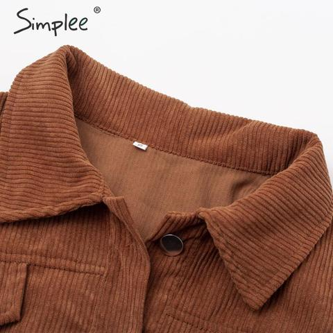 Simplee Casual corduroy buttons long sleeve jackets women 2019 Autumn winter office lady solid coat Female lapel short jackets Islamabad